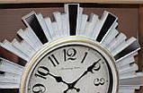 Часы настенные, диаметр 31 см, белые с зеркальными вставками, фото 3