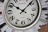 Часы настенные, диаметр 31 см, белые с зеркальными вставками, фото 4