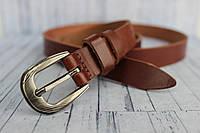 Узкий тонкий ремень женский коричневый кожаный 2 см