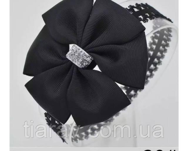 Повязка на голову бант чёрный , повязка для волос детская
