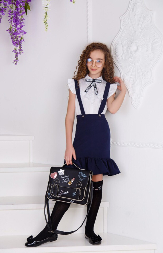 Блуза з бантом біла для дівчинки