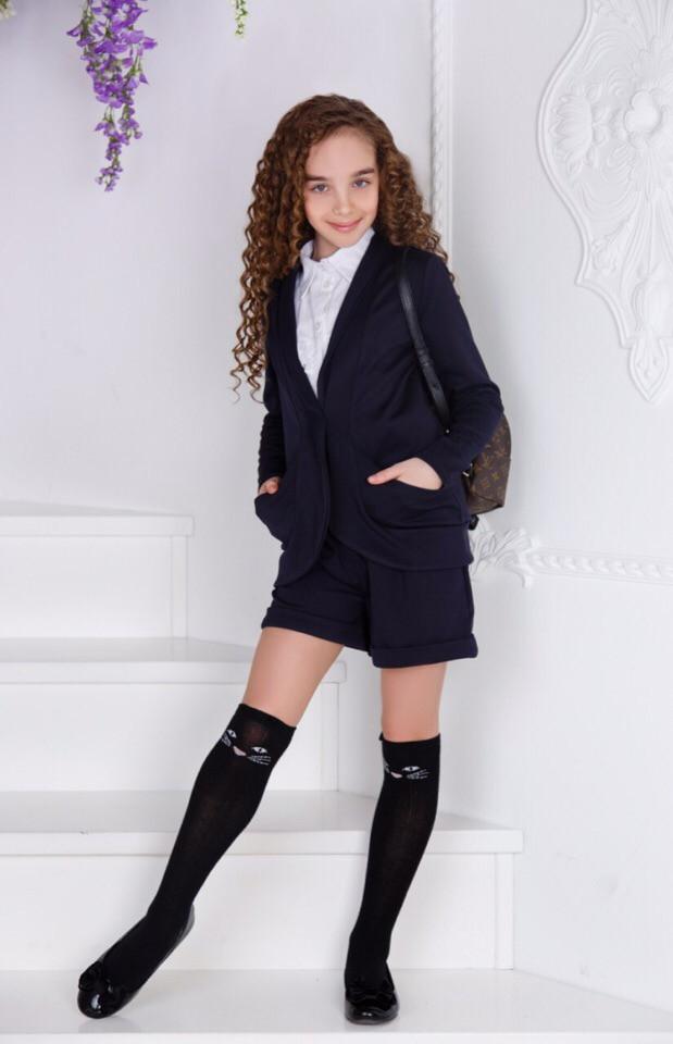 Костюм школьный для девочки  шорты +пиджак
