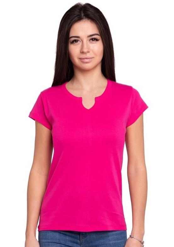 Яскрава рожева футболка жіноча спортивна на літо з коротким рукавом, однотонна хб трикотажна Україна
