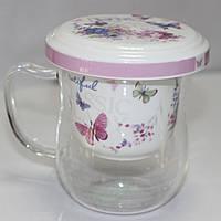 Кружка стеклянная с керамической крышкой и ситом, бабочки, фото 1