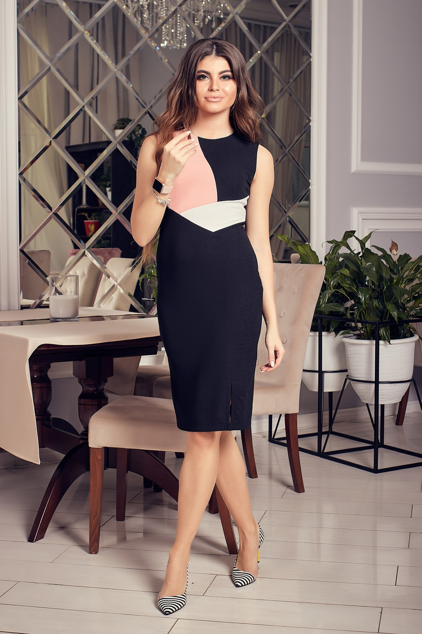 Трех-цветное приталенное  миди платье