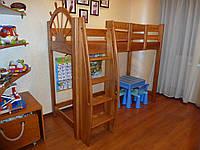 Кровать чердак Моряк, массив дуб, ясень