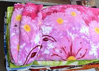 Двуспальное махровое покрывало облегченное с цветами