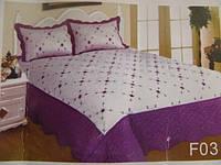 Покрывало двуспальное евро CASA DE ROMA - белое с фиолетовым