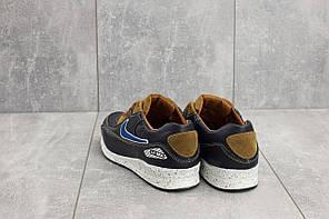 Подростковые кроссовки кожаные Yuves Rex сине-рыжие топ-реплика, фото 3
