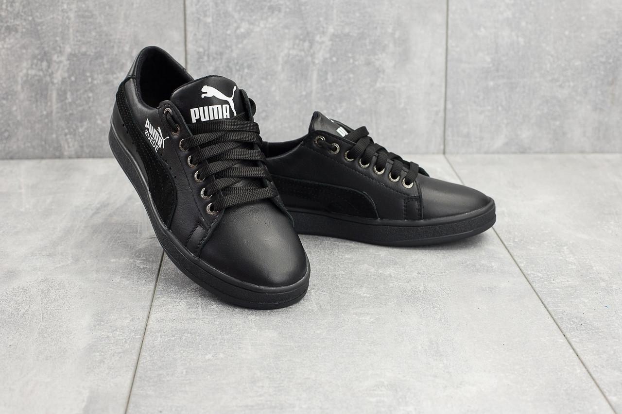 Подростковые кожаные кеды Twics Puma черные топ-реплика