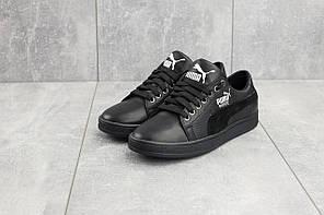 Подростковые кожаные кеды Twics Puma черные топ-реплика, фото 3