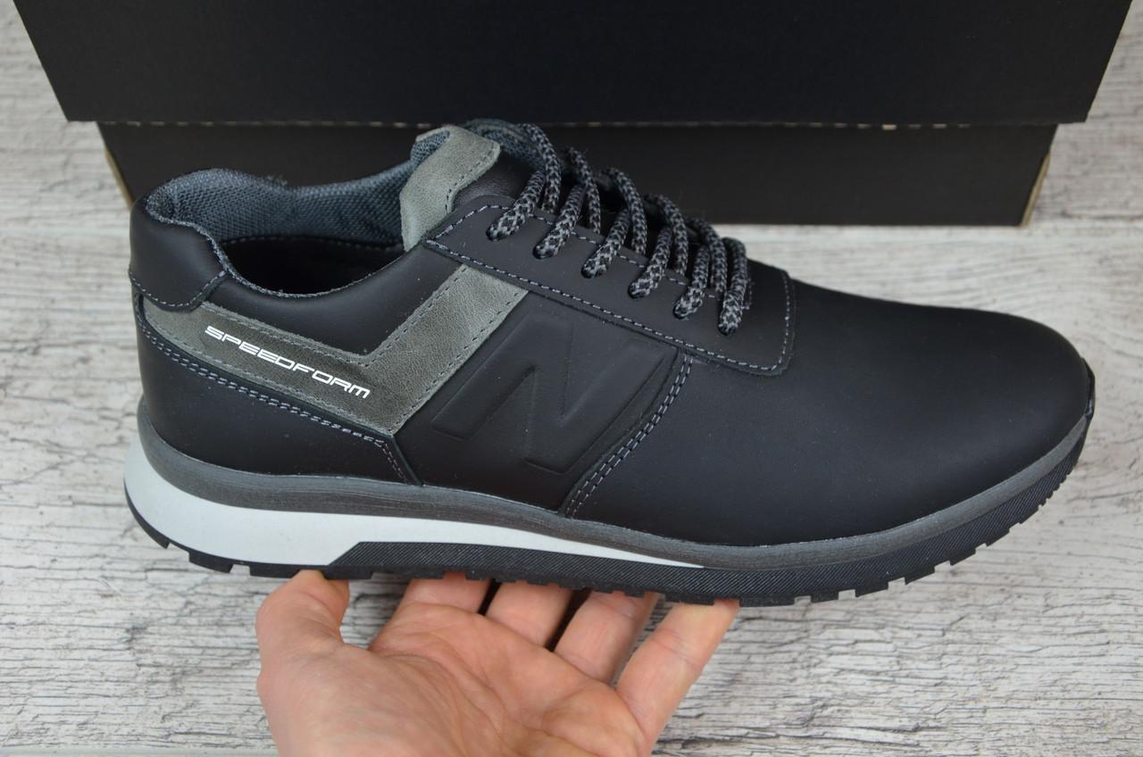 Мужские кожаные кроссовки New Balance черные топ-реплика