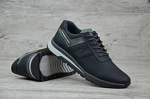 Мужские кожаные кроссовки New Balance черные топ-реплика, фото 2