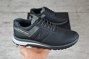 Мужские кожаные кроссовки New Balance черные топ-реплика, фото 3