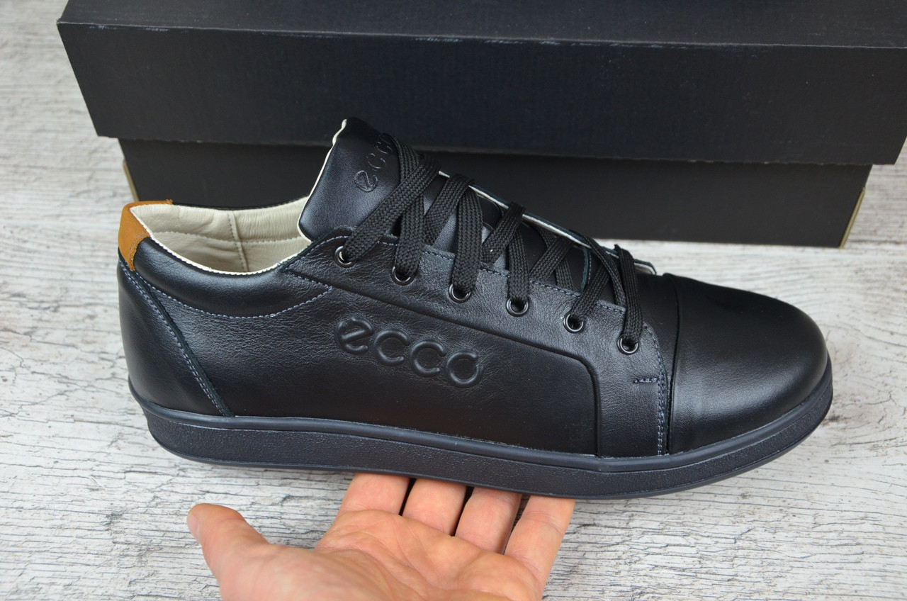 16d417d4 Мужские кожаные кроссовки Ecco черные топ-реплика: продажа, цена в ...