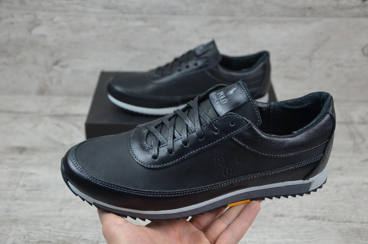 Мужские кожаные кроссовки Polo черные топ-реплика