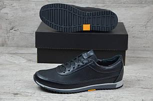 Мужские кожаные кроссовки Polo черные топ-реплика, фото 2