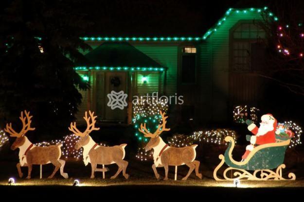Украшение дома на новый год гирляндами