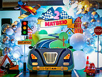 Декор для детского праздника (Самолет, ростовая машина, объемный логотип на банер, светофоры)