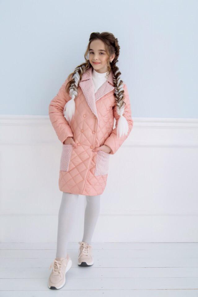 Пальто демісезонне для дівчинки пудра плащівка+кашемір баранець