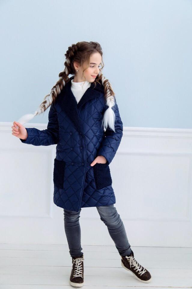 Пальто демісезонне для дівчинки т. синє плащівка+кашемір баранець
