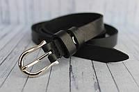 Женский ремень узкий тонки черный кожаный 15мм