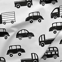 Хлопковая ткань Машинки черно-белые