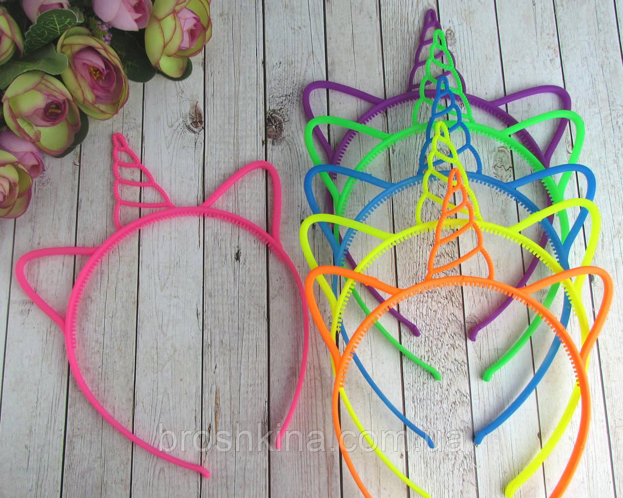 Детские обручи для волос Единороги цветные 12 шт/уп