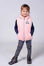 Детская красивая куртка-жилетка с аппликацией со стразиками 92-110., фото 2