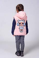 Детская красивая куртка-жилетка с аппликацией со стразиками 92-110., фото 3
