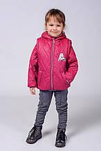 Детская красивая куртка-жилетка с аппликацией со стразиками 92-110.