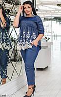Женский джинсовый костюм синий (брюки и туника), фото 1