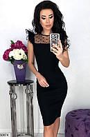Платье женское черное облегающее с сеточкой, фото 1