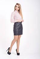 Женская юбка из эко кожи с карманами, фото 1