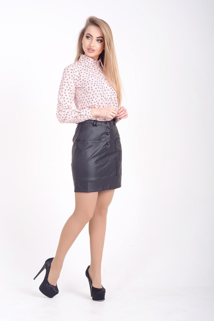 Женская юбка из эко кожи с карманами