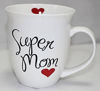 Кружка керамическая белая с надписью, Супер Мама
