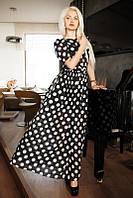 Длинное платье в крупный горох с рукавом 3/4 (2 цвета)