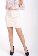 Бежевая юбка из эко кожи с карманами, фото 1