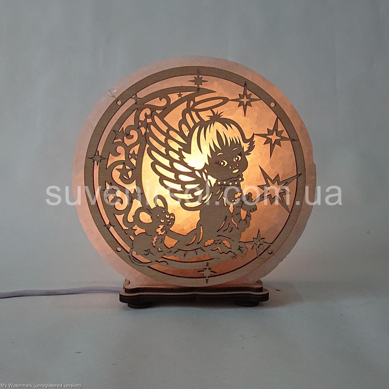 Соляной светильник круглый Ангел+луна