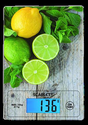 Весы кухонные с подсветкой до 10 кг SCARLETT SC-KS57P21 сенсорные стеклянные стильный дизайн, фото 2