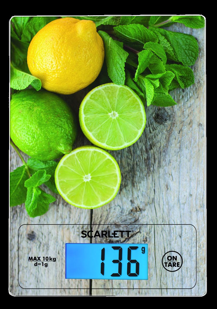 Весы кухонные с подсветкой до 10 кг SCARLETT SC-KS57P21 сенсорные стеклянные стильный дизайн