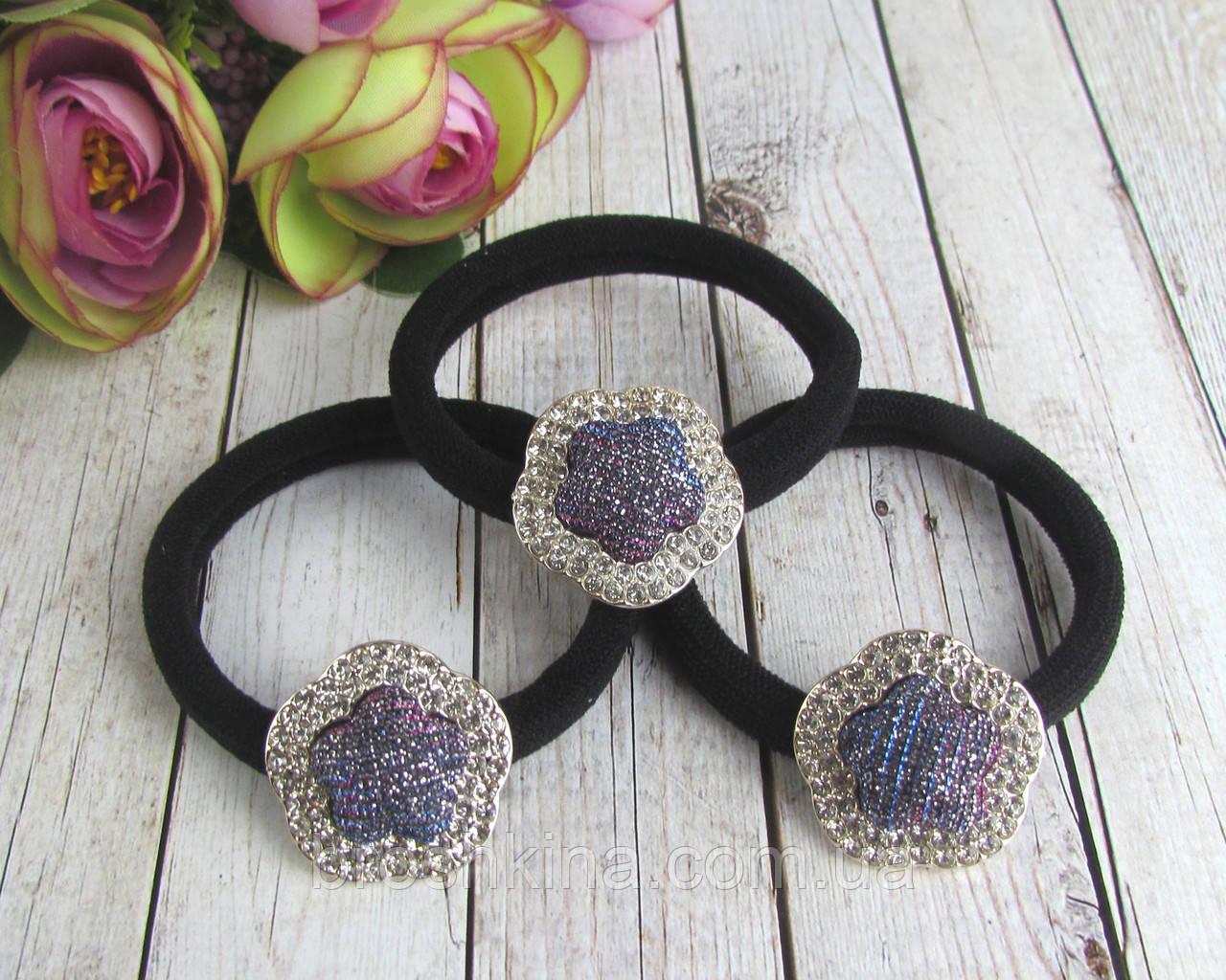 Резинки для волос микрофибра цветочки со стразами 12 шт/уп