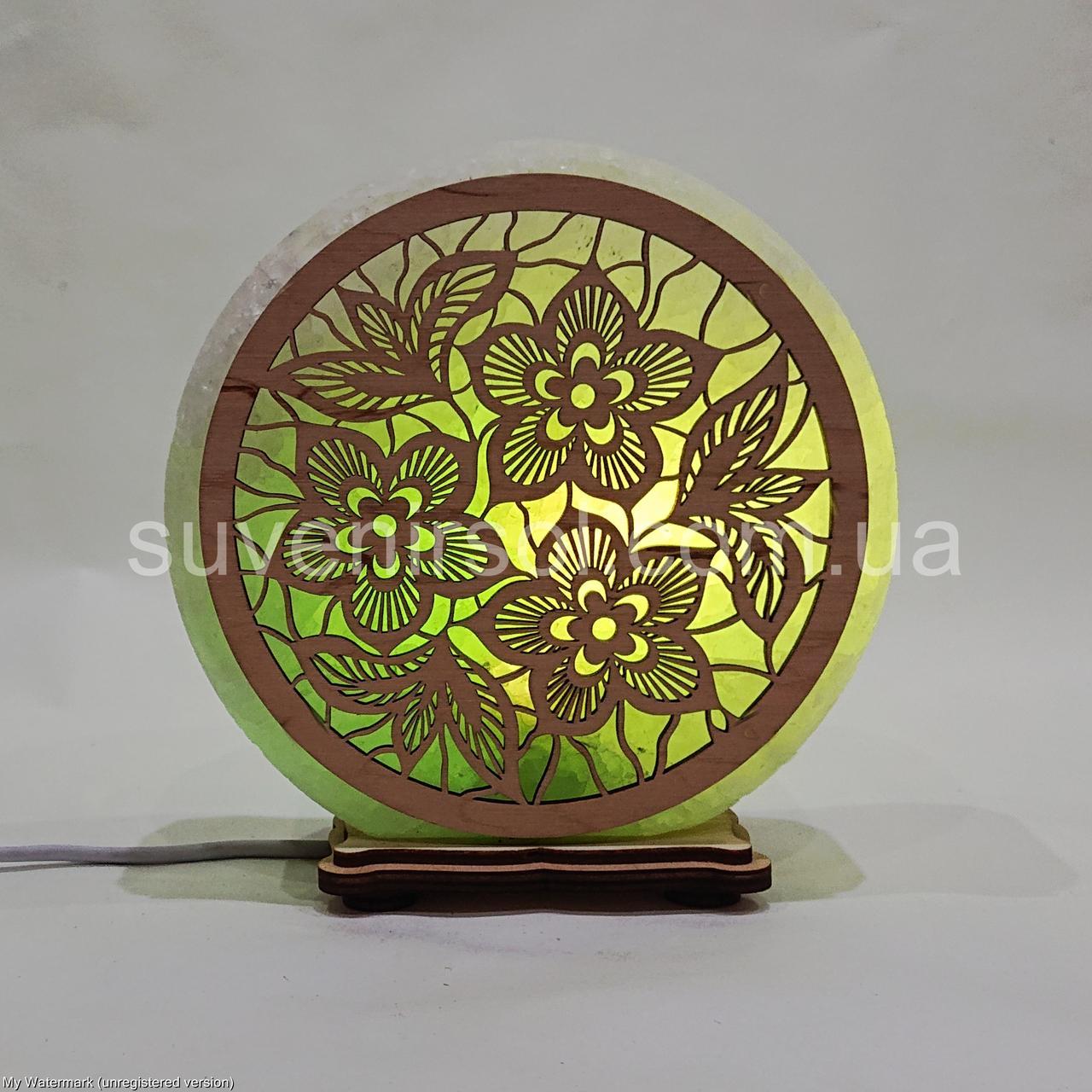 Соляной светильник круглый Цветы 1