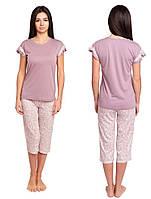 Пижама женская для дома футболка с бриджами хлопковая комплект домашний