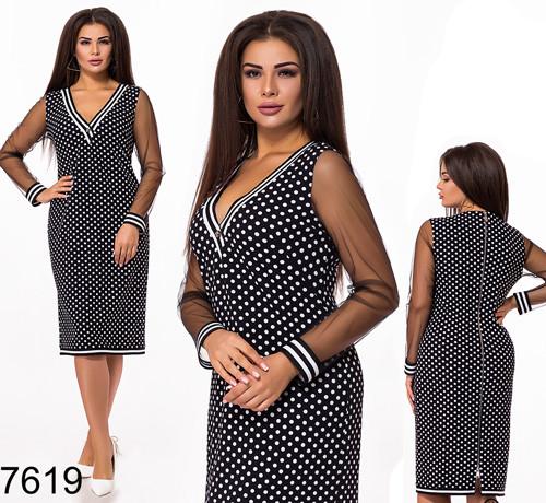 Вечернее платье в горошек рукав - сетка 827619