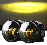 Світлодіодні Протитуманні фари 4 дюйми автомобільні, жовтого світла, 12-24В, 90 мм, круглі, врізні, Jeep