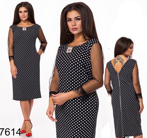 Вечернее платье миди в горошек (черный) 827614