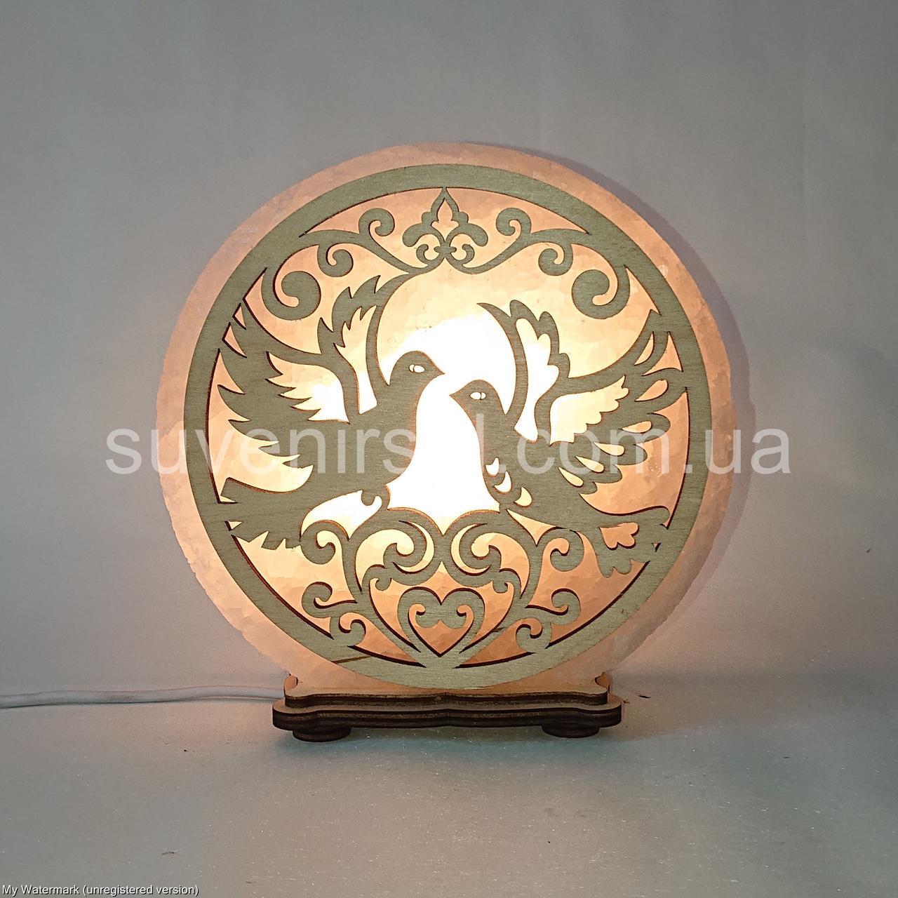 Соляной светильник круглый Голуби