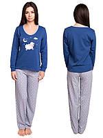 40ecfba216d6e Пижама женская домашняя хлопковый комплект кофта с брюками из интерлока,  синяя