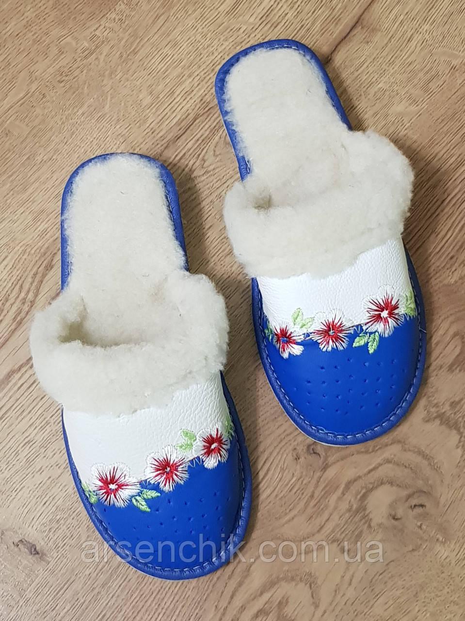 """Домашние кожаные тапочки женские на овчине """"Tylbut"""" 37"""